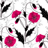 Seamless floral pattern with pink poppies background Royalty Free Stock Photos