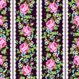 Seamless floral pattern with pink roses, forget-me-not and lace vector illustration