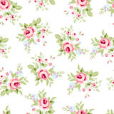 Seamless floral pattern with pink roses Stock Photo