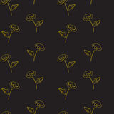 Seamless floral pattern with poppies. gold on black background. Stock Photo