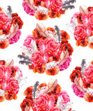 Seamless floral pattern with poppy, rose and birds. Watercolour background Stock Images