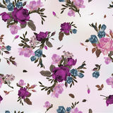 Seamless floral pattern with purple and pink roses and freesia, vector illustration