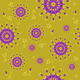 Seamless floral pattern purple yellow ocher Stock Photo
