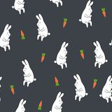 Seamless floral pattern with rabbit and carrot Stock Image