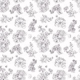 Seamless floral pattern raspberries, peony. Hand drawn illustration fabric, wrapping. Seamless floral pattern with peony and raspberries, black line on white Stock Image