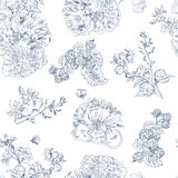 Seamless floral pattern raspberries, peony. Hand drawn illustration fabric, wrapping. Seamless floral pattern with peony and raspberries, blue line on white Royalty Free Stock Images