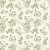 Seamless floral pattern raspberries, peony. Hand drawn illustration fabric, wrapping. Seamless floral pattern with peony and raspberries, green line on beige Royalty Free Stock Photography