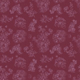Seamless floral pattern raspberries, peony. Hand drawn illustration fabric, wrapping. Seamless floral pattern with peony and raspberries, pink line on vinous Stock Photos