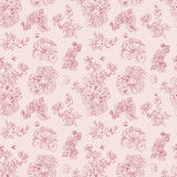 Seamless floral pattern raspberries, peony. Hand drawn illustration fabric, wrapping. Seamless floral pattern with peony and raspberries, red line on pink. Hand Royalty Free Stock Photography