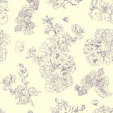 Seamless floral pattern raspberries, peony. Hand drawn illustration fabric, wrapping. Seamless floral pattern with peony and raspberries, violet line on beige Royalty Free Stock Photo