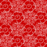 Seamless floral pattern. On a red background Stock Illustration