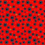 Seamless floral pattern. On a red background. Vector illustration Stock Photo