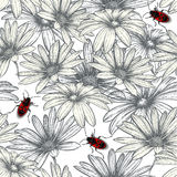 Seamless floral pattern with red beetles. Royalty Free Stock Images