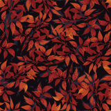 Seamless floral pattern with red ficus leaves. Vector background Stock Photo