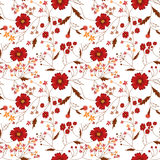 Seamless floral pattern with red flowers Stock Photo