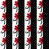 Seamless floral pattern with red flowers striped background Royalty Free Stock Images