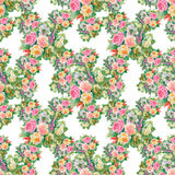 Seamless floral pattern with of red and orange roses Stock Image