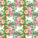 Seamless floral pattern with of red and orange roses Stock Photo