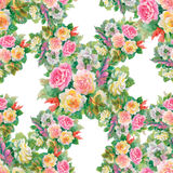 Seamless floral pattern with of red and orange roses Stock Images