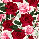 Seamless floral pattern with red and pink roses and white herbs on light mint background. Vector illustration stock illustration
