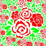 Seamless Floral Pattern with Red Rose Flower and Green Leaves Background Stock Image
