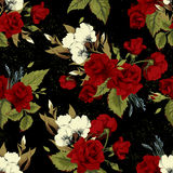 Seamless floral pattern with red roses on black background Stock Photography