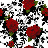 Seamless floral pattern with Red Roses. Royalty Free Stock Image