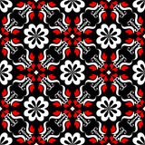 Seamless floral pattern. Red and white elements on black background. Seamless floral pattern. Red, white elements on black background Royalty Free Stock Photos