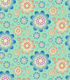 Seamless floral pattern in retro blue and orange colors Royalty Free Stock Photo