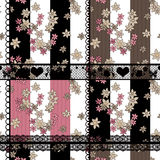 Seamless floral pattern retro patchwork background Royalty Free Stock Images