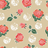 Seamless floral pattern with rose. Decorative background with seamless patterns with rose vector illustration