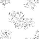 Seamless floral pattern with rose, hand drawn sketch Stock Images