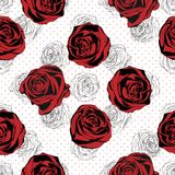 Seamless Floral Pattern. Rose red background stock illustration