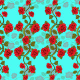 Seamless floral pattern with roses branches. Floral print. Stock Photo