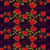 Seamless floral pattern with roses branches.  Royalty Free Stock Photography