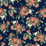 Seamless floral pattern with roses on dark background, watercolor royalty free illustration