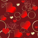 Seamless floral pattern with roses, hearts and rings Royalty Free Stock Images