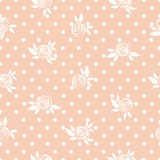Seamless floral pattern, roses on the polka dot background. royalty free illustration