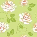 Seamless Floral Pattern with Roses. Red roses on a green background Stock Illustration