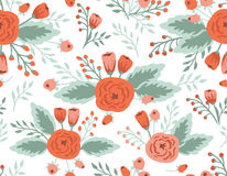 Seamless floral pattern. Roses and tulips, vintage illustration Stock Photos