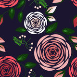 Seamless floral pattern with roses. Vector illustration. Stock Photos