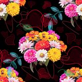 Seamless floral pattern. With hearts and leaves Royalty Free Stock Photo