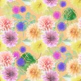Seamless floral pattern. Seamless  pattern of dahlia flowers Stock Images
