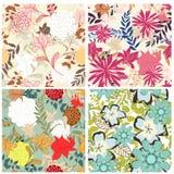 Seamless floral pattern set vector illustration