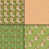 Seamless floral pattern set with peonies Stock Images