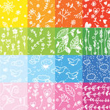 Seamless floral pattern set rainbow colors Stock Photos