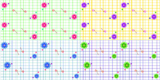 Seamless floral pattern set on striped background Royalty Free Stock Image