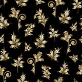 Seamless floral pattern. Simple flower on white backgound. Vector. Seamless floral pattern. Simple golden flowers on black backgound. Vector Stock Photography