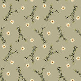 Seamless floral pattern with simple watercolor pink flowers and branches. Hand drawn isolated on a brown background Stock Image