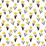 Seamless floral pattern with small flowers. Ditsy spring floral pattern with small hand drawn gold flowers on white background. Seamless vector vintage texture Stock Photos